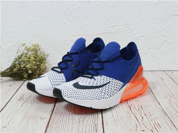 Nike Shoes Cheap Nike Air Maxs 270 Flyknit Mens White Orange Navy Blue On  VaporMaxRunning