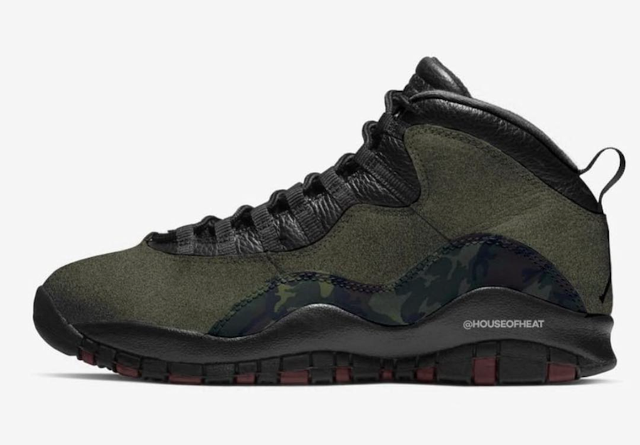 2019 Cheap Nike Air Jordan 10 Woodland Camo Medium Olive Black-Dark Army-Dark Cinder 310805-201 On VaporMaxRunning