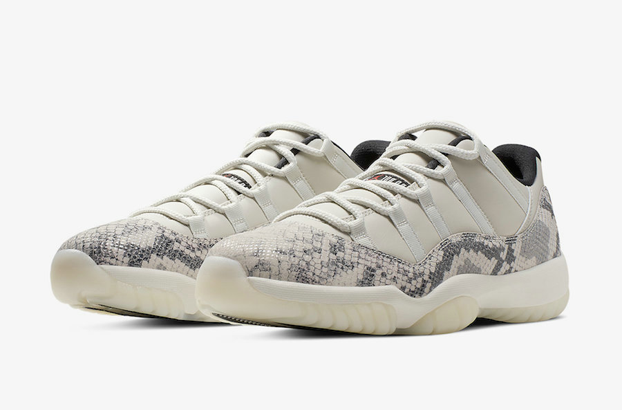 2019 Cheap Nike Air Jordan 11 Low Snakeskin CD6846-002 Light Bone-University Red-Sail-Black On VaporMaxRunning
