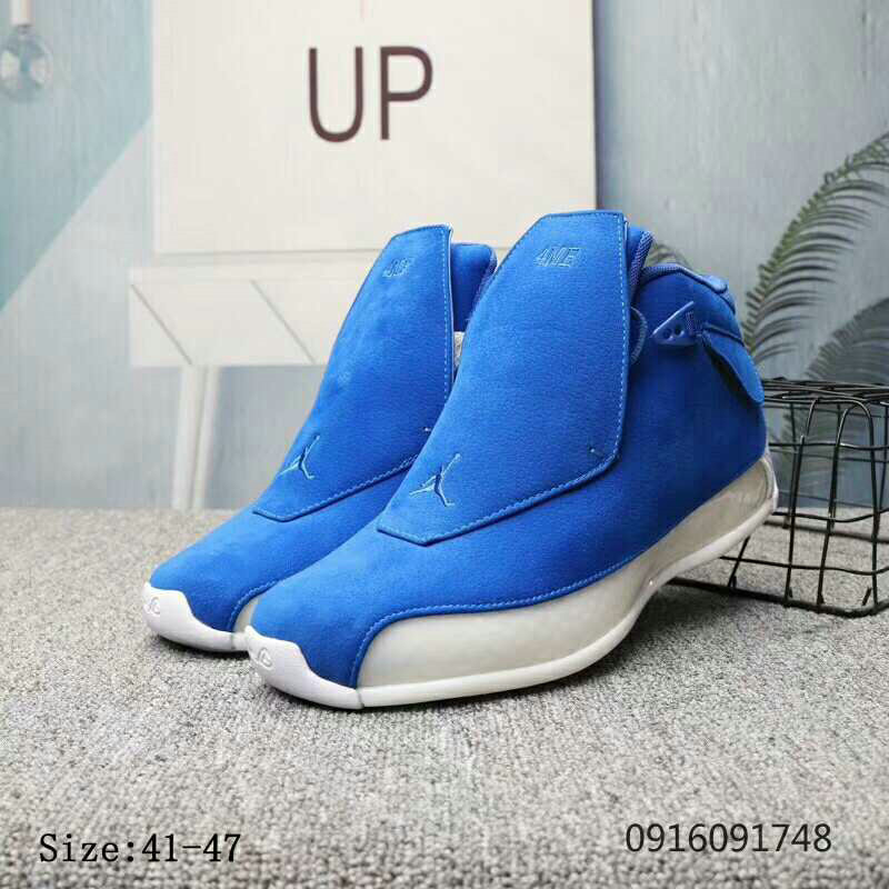 2019 Cheap Nike Air Jordan 18 Racer Blue Racer Blue-Sail AA2494-401 On VaporMaxRunning
