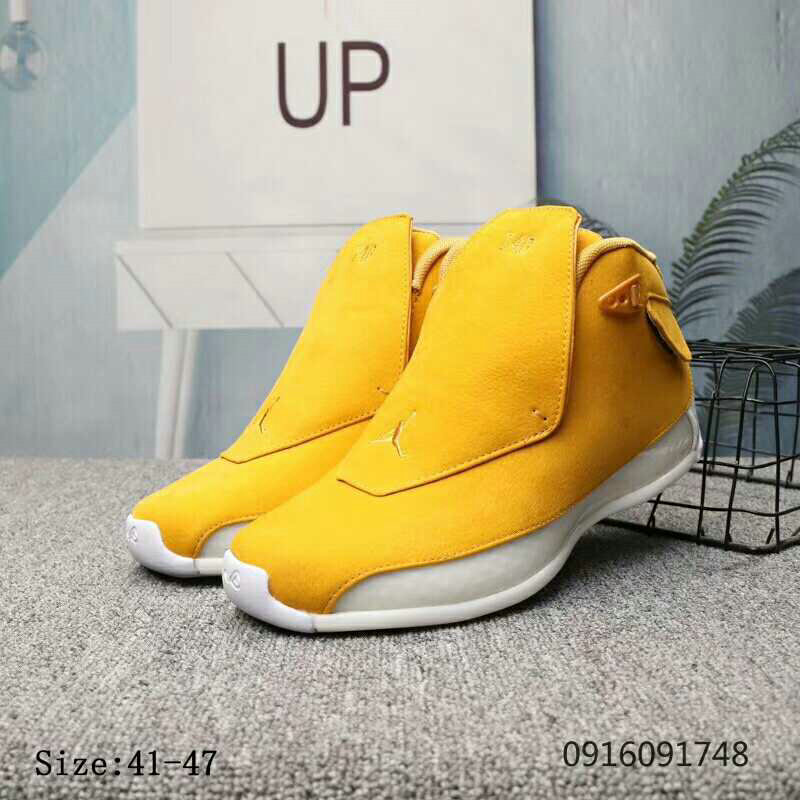 2019 Cheap Nike Air Jordan 18 Yellow Ochre Yellow Ochre-Sail AA2494-701 On VaporMaxRunning