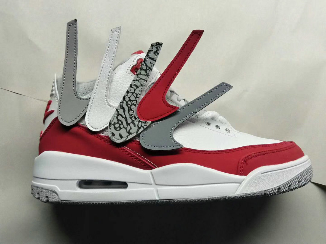 b60068d4a74c4a 2019 Cheap Nike Air Jordan 3 University Red White Grey Blanc Noir On  VaporMaxRunning
