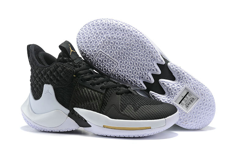 2019 Cheap Nike Air Jordan Mens Why Not Zer0.2 Basketball Shoes Black White Gold On VaporMaxRunning