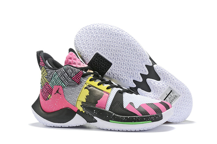 2019 Cheap Nike Air Jordan Mens Why Not Zer0.2 Basketball Shoes Pink Black Yellow Green White On VaporMaxRunning