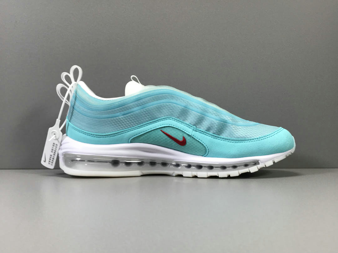 2019 Cheap Nike Air Max 97 Light Aqua Grym Red-White Aqua Clair Blanc Rouge Gym CI1508-400 On VaporMaxRunning
