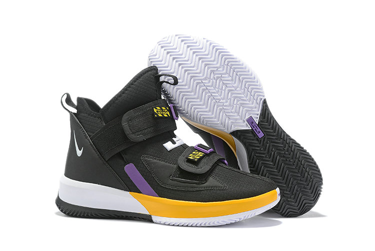 2019 Cheap Nike LeBron Soldier 13 Black Yellow White Purple On VaporMaxRunning
