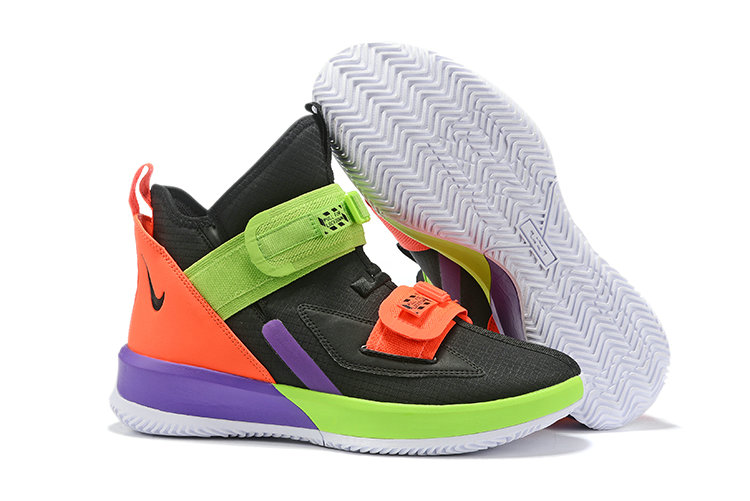 2019 Cheap Nike LeBron Soldier 13 Lakers Black Orange Purple Green On VaporMaxRunning