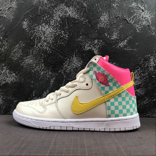 2019 Cheap Nike SB DUNK HIGH PRM ARIZONA Beige White Blanc
