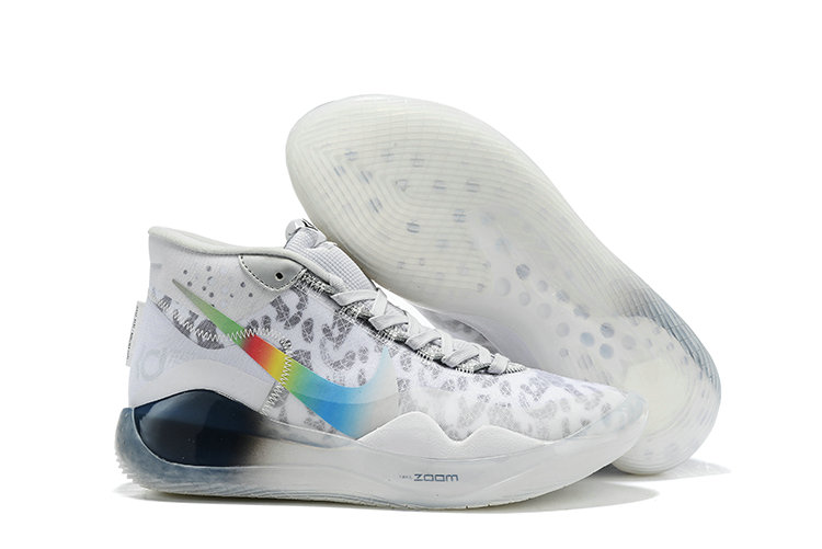 2019 Cheap Nike Zoom Kevin Durant 12 White Grey Colorful On VaporMaxRunning