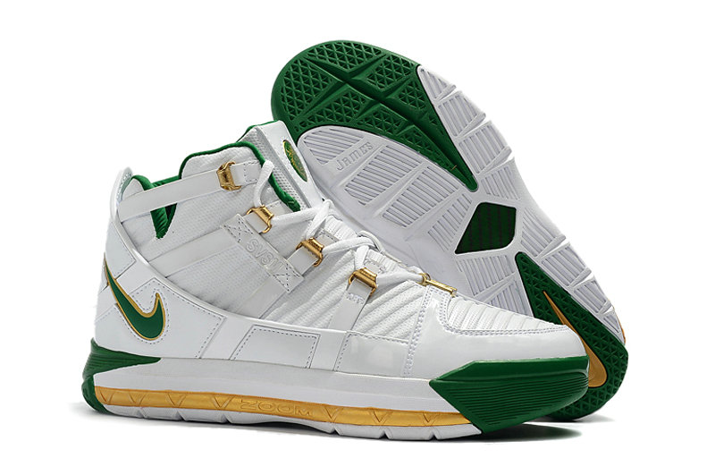 2019 Cheap Nike Zoom LeBron 3 QS SVSM Home White-Deep Forest-Gold Dust AO2434-102 On VaporMaxRunning