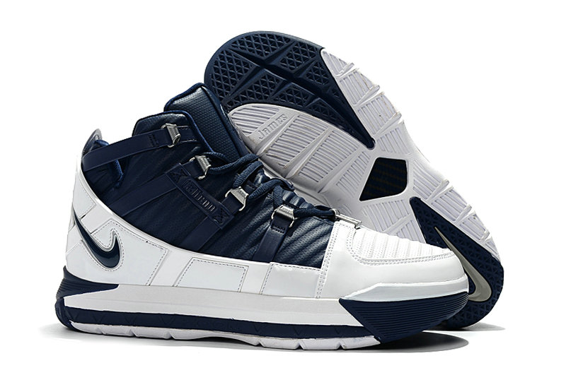 2019 Cheap Nike Zoom LeBron 3 White-Midnight Navy-Metallic Silver AO2434-103 On VaporMaxRunning