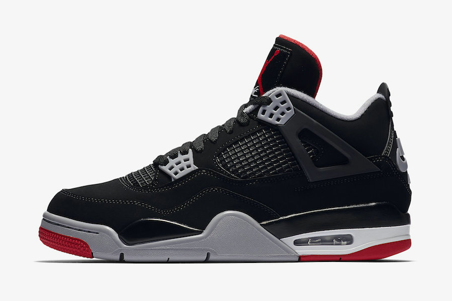 2019 Where To Buy Cheap Nike Air Jordan 4 Bred Black Cement Grey-Summit White-Fire Red 308497-060 On VaporMaxRunning