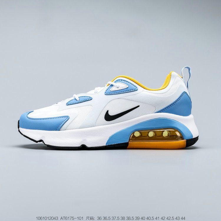 2019 Where To Buy Cheap Nike Air Max 200 White Black Half Blue Blanc Mi-Bleu Noir AT6175-101 On VaporMaxRunning