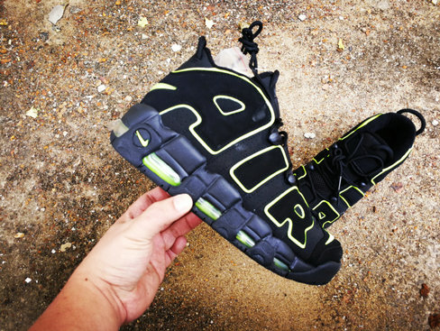 2019 Where To Buy Cheap Nike Air More Uptempo Fluorescent Green Navy Blue On VaporMaxRunning
