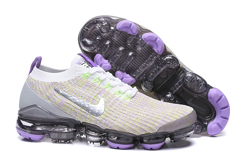 2019 Where To Buy Cheap Nike Vapormax Flyknit 3.0 White Purple Silver AJ6910-102 On VaporMaxRunning