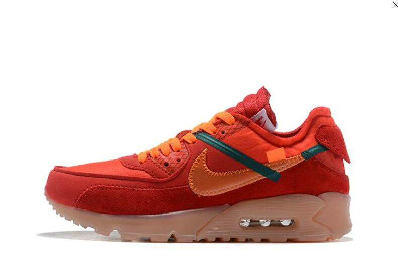 2019 Where To Buy Cheap Off White X Nike Air Max 90 Red Orange OW AA7293-600 On VaporMaxRunning