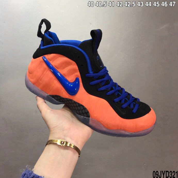2020 Cheap Nike Air Foamposite Orange Black Royal Blue On VaporMaxRunning