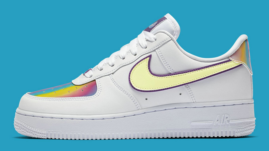 2020 Cheap Nike Air Force 1 Low Easter 2020 White Barely Volt-Hyper Blue CW0367-100 On VaporMaxRunning
