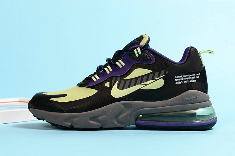 2020 Cheap Nike Air Max 270 React Fluorescent Green Purple Black Grey On VaporMaxRunning