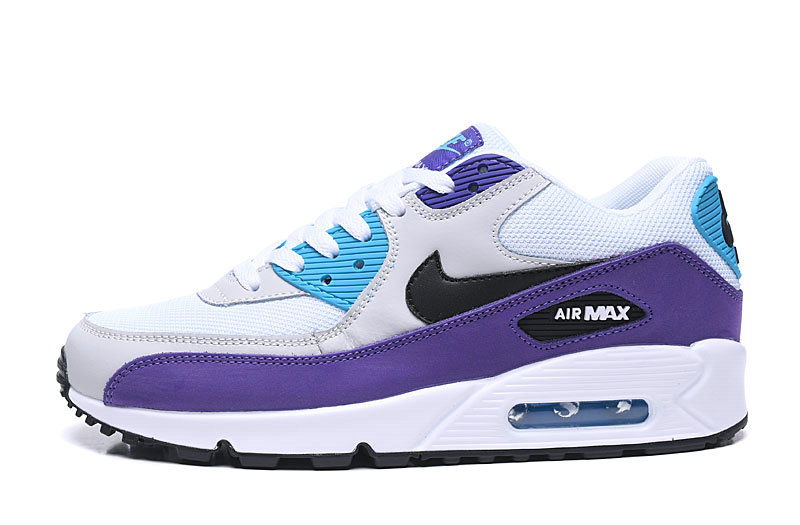 2020 Cheap Nike Air Max 90 Essential White Black-Hyper Jade-Purple AJ1285-103 On VaporMaxRunning