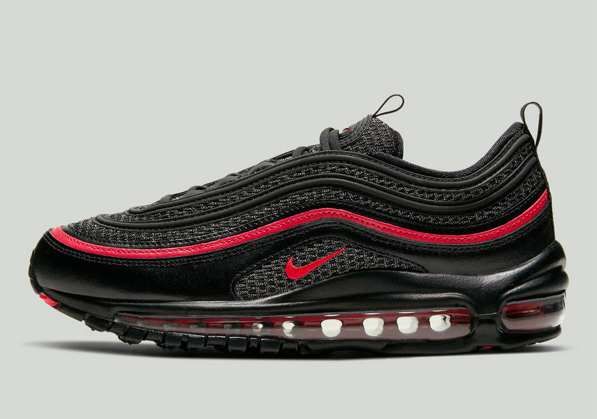 2020 Cheap Nike Air Max 97 Black Metallic Silver University Red CU9990-001 On VaporMaxRunning