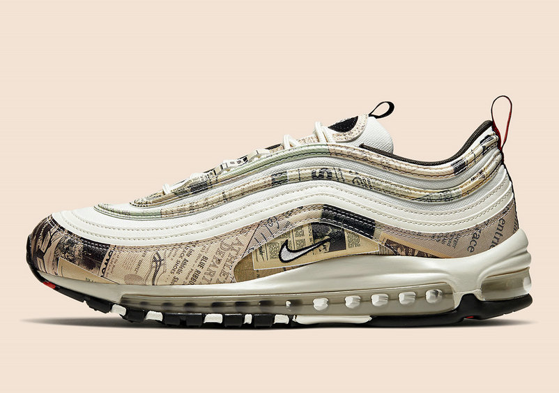 2020 Cheap Nike Air Max 97 Newspaper Sail Black Team Orange White 921826-108 On VaporMaxRunning