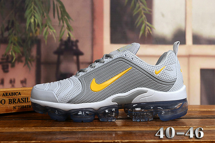 2020 Cheap Nike Air VaporMax Plus Rubber Grey Yellow White On VaporMaxRunning