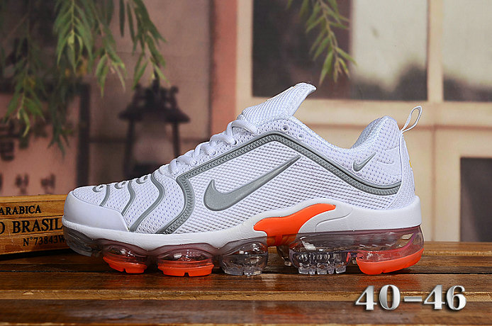 2020 Cheap Nike Air VaporMax Plus Rubber White Grey Orange On VaporMaxRunning