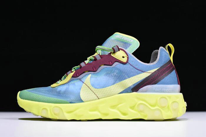 Where To Buy 2020 Undercover x Nike React Element 87 Blue Volt Lakeside Electric Yellow BQ2718-400 On VaporMaxRunning