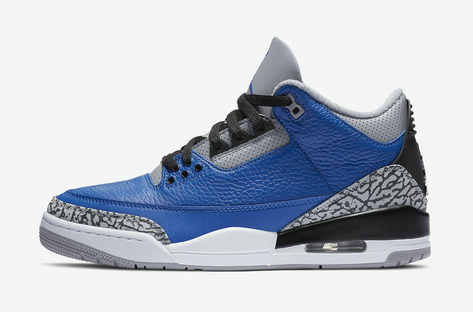 2021 Cheap Nike Air Jordan 3 Blue Cement Varsity Royal Varsity Royal-Cement Grey CT8532-400 On VaporMaxRunning