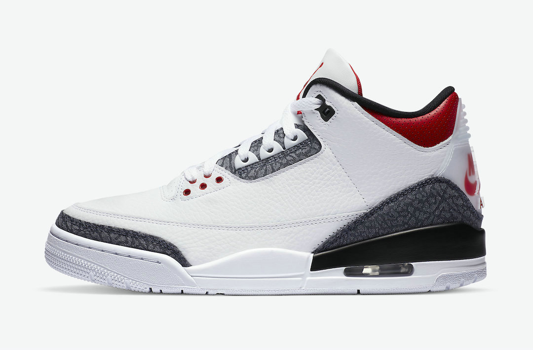 2021 Cheap Nike Air Jordan 3 SE Denim White Fire Red-Black CZ6433-100 On VaporMaxRunning