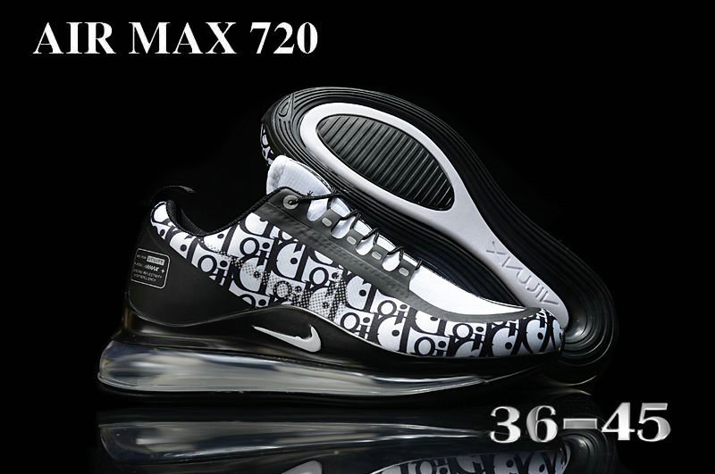2021 Cheap Nike Air Max 720 White Black On VaporMaxRunning