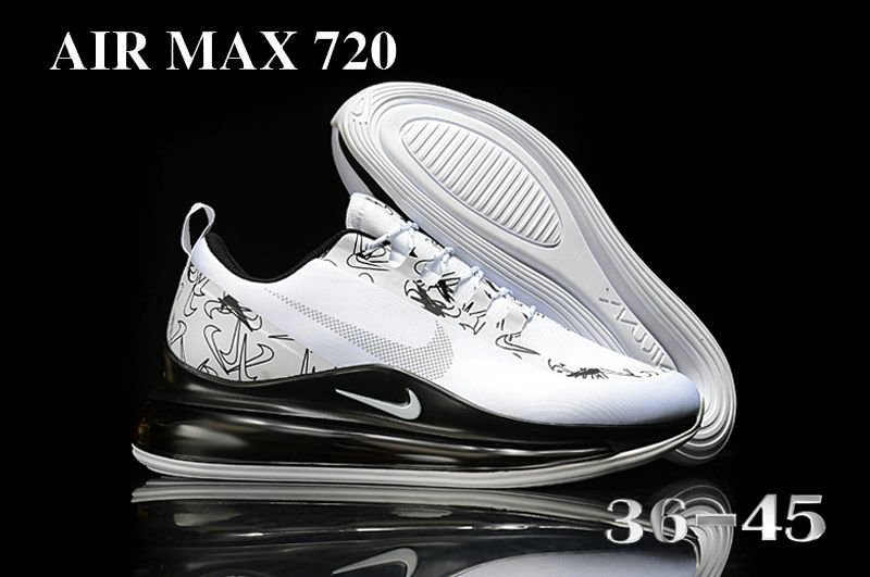 2021 Cheap Nike Air Max 720 White Black Grey On VaporMaxRunning