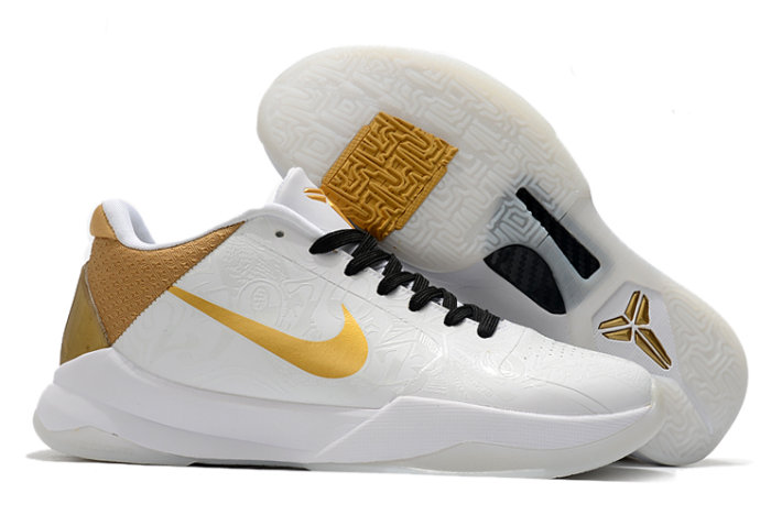 2021 Cheap Nike Kobe 5 BHM White Black-Gold On VaporMaxRunning