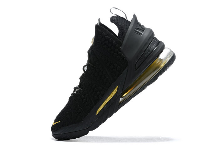 2021 Cheap Nike Lebron 18 Black Metallic Gold On VaporMaxRunning
