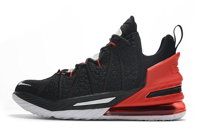 2021 Cheap Nike Lebron 18 Black Varsity Red-White On VaporMaxRunning