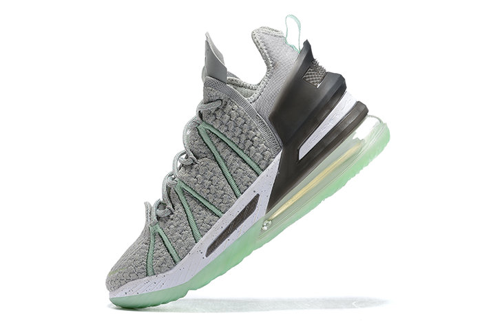 2021 Cheap Nike Lebron 18 Grey Green-Black-White On VaporMaxRunning