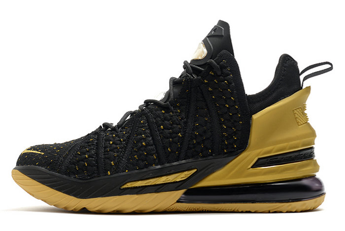 2021 Cheap Nike Lebron 18 Metallic Gold Black On VaporMaxRunning