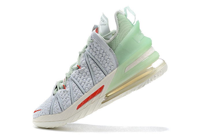 2021 Cheap Nike Lebron 18 Orlando White Jade Aura-Red On VaporMaxRunning