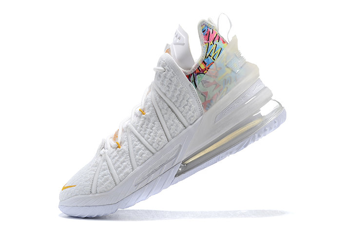 2021 Cheap Nike Lebron 18 White Metallic Gold Multi-Color On VaporMaxRunning