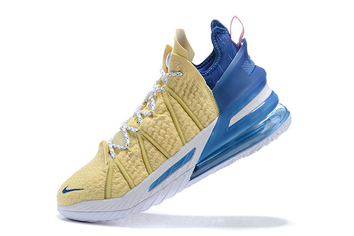 2021 Cheap Nike Lebron 18 Yellow White-Blue On VaporMaxRunning