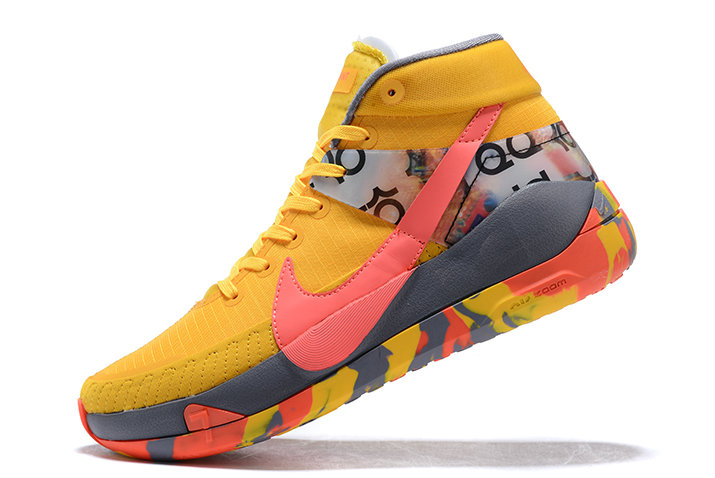 2021 LATEST RELEASE NIKE KD 13 BRIGHT YELLOW GREY-PINK SHOES FOR MEN On VaporMaxRunning