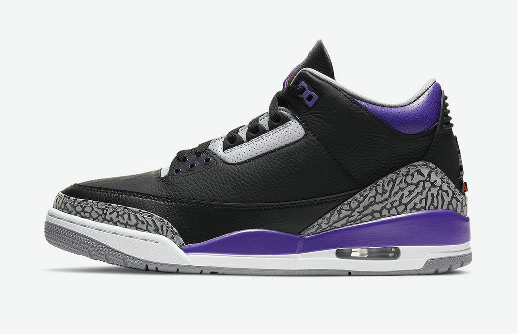 2021 Where To Buy Cheap Nike Air Jordan 3 Black Cement Grey-White-Court Purple CT8532-050 On VaporMaxRunning