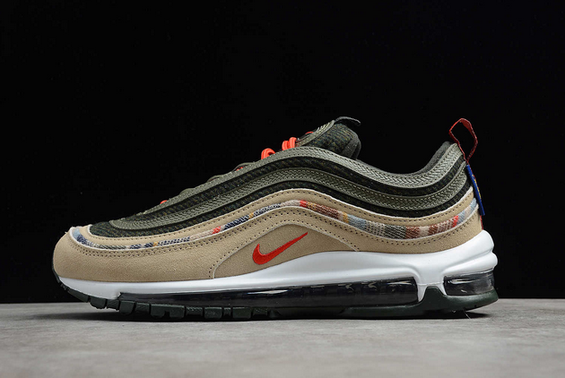 2021 Where To Buy Cheap Nike Air Max 97 By You Pendleton Black Olive Army Green Orange DC3494-992 On VaporMaxRunning