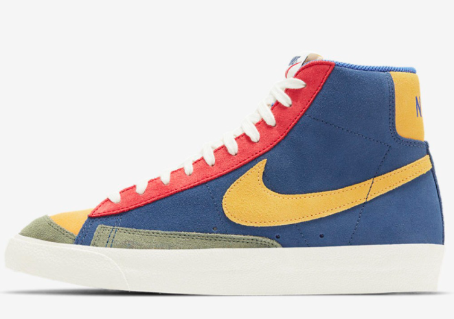 2021 Where To Buy Cheap Nike Blazer Mid 77 Desert Berry Coastal Blue DC9179-476 On VaporMaxRunning