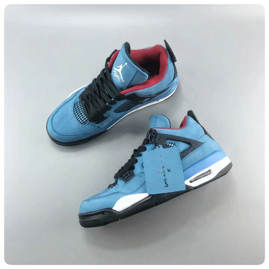 AJ4 Travis Scott x Air Jordan 4 Houston Oilers 308497-406 On VaporMaxRunning