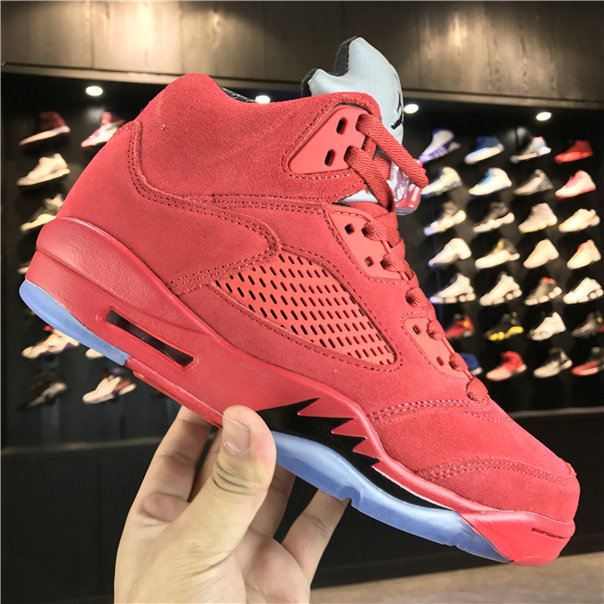 2018 New Jordan Shoes Cheap Air Jordan 5 Red Suede 136027-603 On VaporMaxRunning