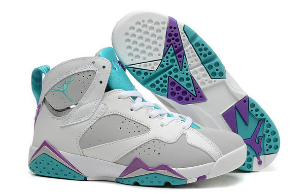 Cheap Jordan 7 Women Purple Grey White Green On VaporMaxRunning