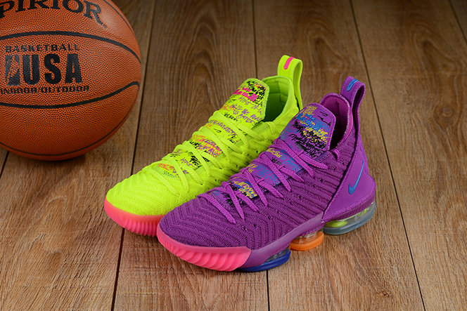 Cheap Lebron 16 Shoes Purple Green Pink What The