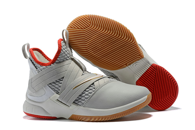 Cheap Lebron Soldier 12 Grey Red Gold